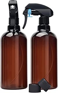 CHUHUAYUAN Empty Dark Amber Spray Bottles (2 Pack)- 16oz BPA Free Leak Proof Refillable container with Buckle for Cleaning resolution, Essential Oils-Durable Black Trigger Sprayer