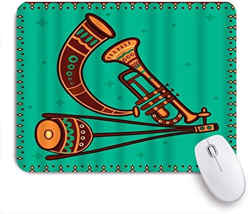 HUAYEXI Stoff Mousepad,Musikinstrument Indien Desi Volkskunst Stil Horn Trompete Kultur Native Sound,Rutschfest eeignet für Büro und Gaming Maus