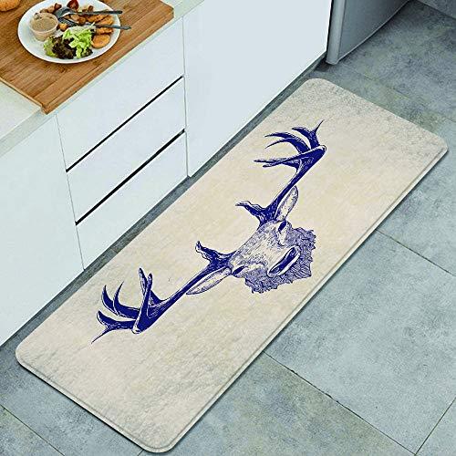 LONSANT Küchenteppiche,Hirschkopf Hirschkopf Vintage Hand gezeichnete Weihnachtsskizze Tattoo Zeichnung,rutschfestes Küchenmatten und Teppichset Gummiunterlage Fußmatte Runner Teppich Set 45X120CM