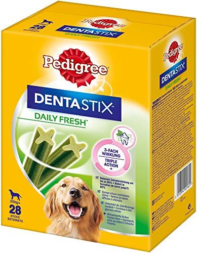 Pedigree DentaStix Daily Fresh Zahnpflegesnack für große Hunde – Hundeleckerli mit Aktivwirkstoffen für jeden Tag – Für gesunde Zähne und einen frischen Atem – 4 x 28 Stück