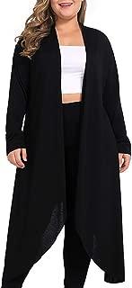 NUONITA Women's Plus Size Cardigans Long Sleeve Casual Open Front Drape Lightweight Duster Sweaters
