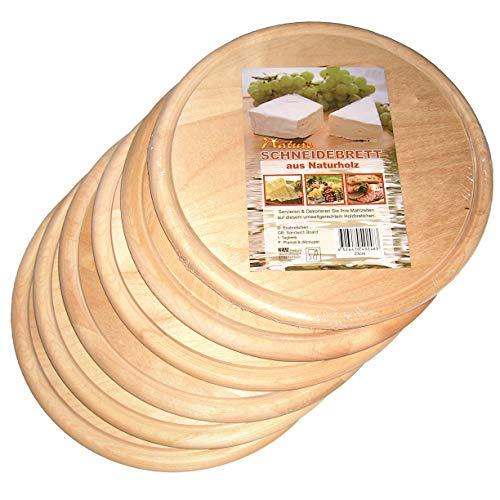Frühstücksbretter, Vesperbretter, Brotzeitbretter, Küchenbretter, Brotbretter, Frühstücksbrettchen rund aus unbehandelten Naturholz, 23 x 0,9 cm, 6er Set