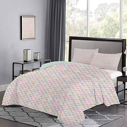 UNOSEKS LANZON Duvet Cover Set Vertical Borders with Bicolor Curves in Symmetrical Order Geometrical Wavy Ornament Comforter Cover Great for Snuggle with At Night Multicolor, Twin Size