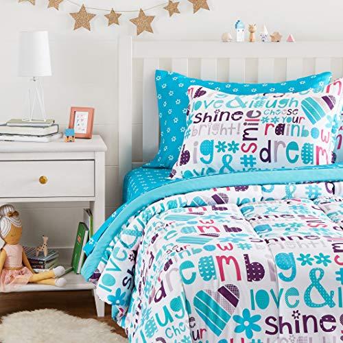 Amazon Basics Easy Care Super Soft Microfiber Kid's Bed-in-a-Bag Bedding Set - Twin, Multi-Color Dream Big