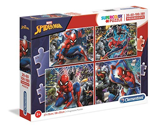 Clementoni- Puzzles 20+60+100+180 Piezas Spider-Man, Color Multicolor. (21410.5)