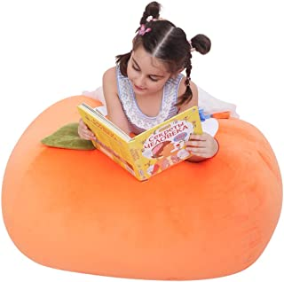 Stuffed Animal Bean Bag Cover, 38 Inch Extra Soft Stuffie Storage Replace Mesh Toy Hammock for Kids Room Organization and Decor (Orange Design)