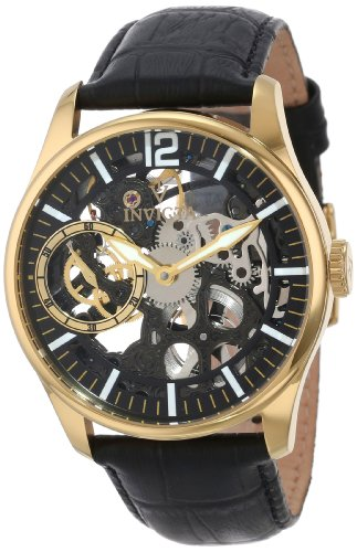 Invicta Men's 12405 Vintage Mechanical Gold-Tone Stainless Steel Watch with Textured Leather Band