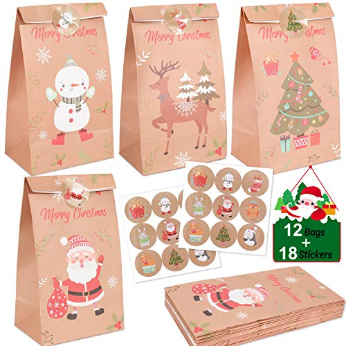 Konsait 12Pack Christmas Paper Treat Bags Bulk, Christmas Tree Santa Claus Reindeer Snowman Candy Gift Bags, With 18 Sealed Stickers Flat Bottom Bags, for Xmas Party Favor Snacks Gift Packing Supplies