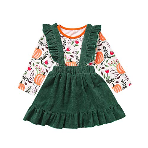 Why Choose Goddesslili Baby Halloween Costumes, Cute Pumpkin T-Shirt and Suspender Skirts Outfits Se...