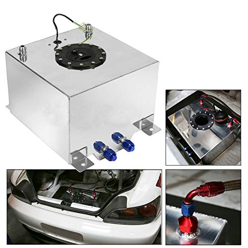EASYBERG 5 Gallon Aluminum Street/Drift/Strip/Racing Fuel Cell Black Gas Tank with Level Sender Silver Coated