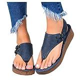 Cenglings Rome Shoes,Women's Plus Size Clip Toe Hollow Out Flat Slingback Flip Flop Breathable Platform Sandals Wedges Shoes(Blue,42)