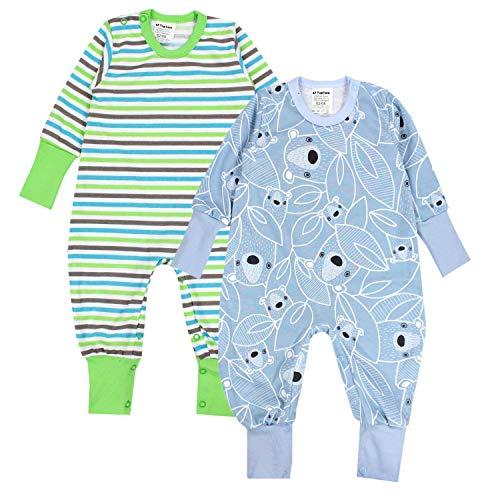 TupTam Baby Jungen Schlafstrampler Gemustert 2er Pack, Farbe: Farbenmix 4, Größe: 62-68