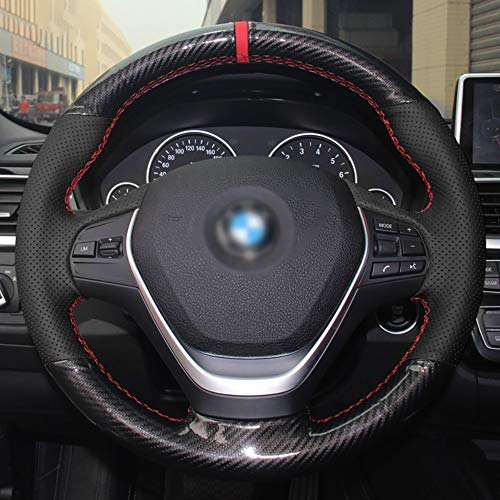 JIRENSHU Schwarzes Leder PU Carbon Lenkradbezug, für BMW 316i 320i 328i 320d F20 F45 F30 F31 F34 F32 F33
