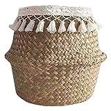 Lavandería Cesta de lavadero plegable Seagrass cesta de la flor tejida a mano las flores cesta de la paja for la planta de almacenamiento de lavandería Tiesto juguete Closet y sala de almacenamiento d