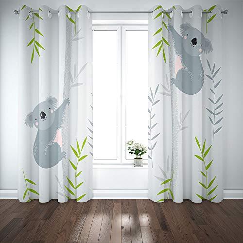 Pamime 2 Panels Curtains 52X84 inch,Blackout Window Curtain Background Koalas Trees Cartoon Cartoon Character Window Curtain Panels for Bedroom Living Room Kitchen