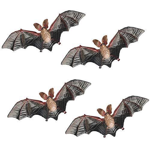4 Pcs Simulate Bat Figurines, Mini Bat Figures for DIY Cake Topper, Halloween Home Decoration