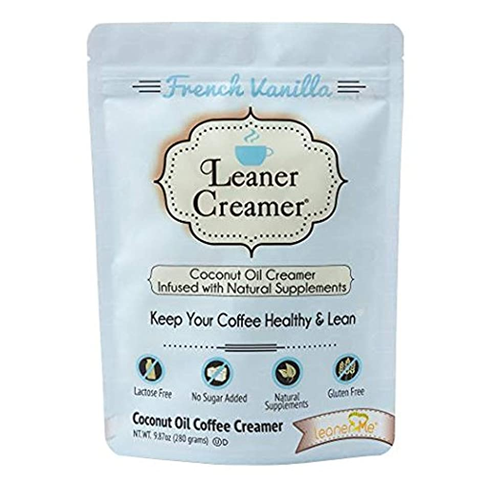 Leaner Creamer Natural Coconut Oil Based Lactose Free Gluten-Free and Sugar-Free Coffee Creamer Powder Infused with Supplements, Lucsious French Vanilla - (9.87oz Pouch)