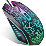 VersionTECH. Gaming Mouse Wired, Ergonomic USB Mouse Mice with RGB Backlit, 1200 to 3600 DPI for Laptop PC Computer Chromebook PS4 -Black