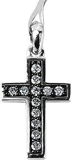 Sterling Silver 25 mm Chevron Cross White Diamonds NO Chain New 7P