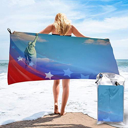 Paedto Toalla de playa, extra grande, 80 x 130 cm, suave, altamente absorbente, ideal para viajes diarios, camping, gimnasio, piscina, sillas de playa, banderas de Estados Unidos