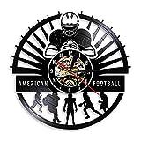 CHANGWW Joueurs de Football américain Disque Vinyle Horloge Murale Sport vestiaire décoration Murale Design Moderne Rugby muet Montre Fan de Football Cadeau