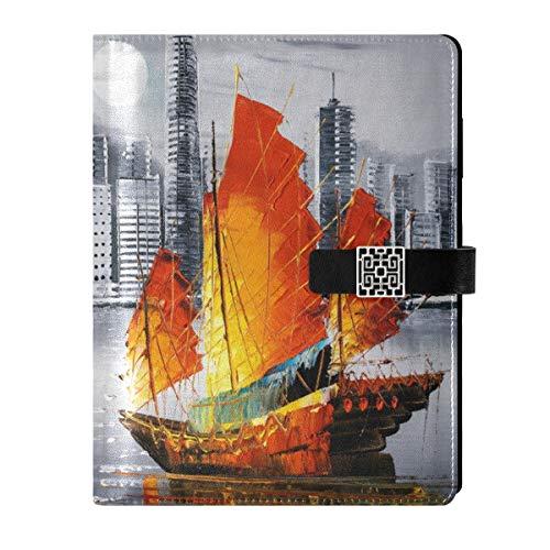 Cuaderno de cuero para diario diario de viaje, pintura al vapor, paisaje, rellenable interior, A5, carpeta de anillas, cuaderno de tapa dura, regalo para mujeres y hombres