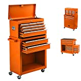 8-Drawer Rolling Tool Chest Removable Tool Storage Cabinet with Sliding Drawers, Keyed Locking System Toolbox Organizer (Orange)