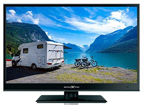 REFLEXION LEDW-160 Wide-Screen Full HD LED-Fernseher (16 Zoll) für Wohnmobile mit DVB-T2 HD, Triple-Tuner und 12 Volt KFZ-Adapter (12/24 Volt, HDMI, USB, EPG, CI+, DVB-T Antenne), Schwarz