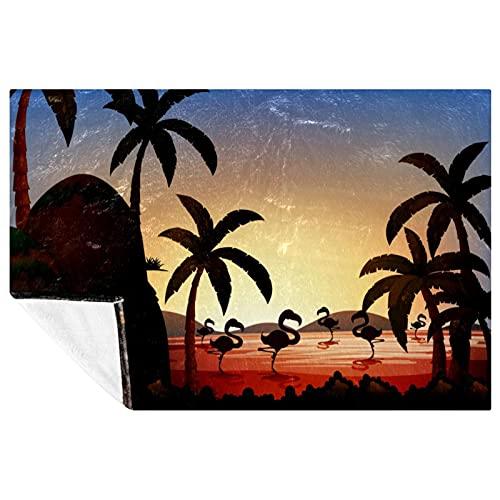 BestIdeas Manta con diseño de árbol de coco flamenco en el río, suave, cálida y acogedora, para cama, sofá, picnic, camping, playa, 150 x 100 cm