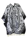 Del Mex Authentic Mexican Poncho Cobija Gaban Blanket -Black & White (Virgin Guadalupe)
