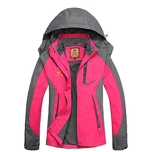 Bornbayb Femmes Capuche Coupe-Vent et imperméable Veste extérieure Femmes Respirant Alpinisme Veste idéal pour Le vélo, la Course, Le Jogging, équitation
