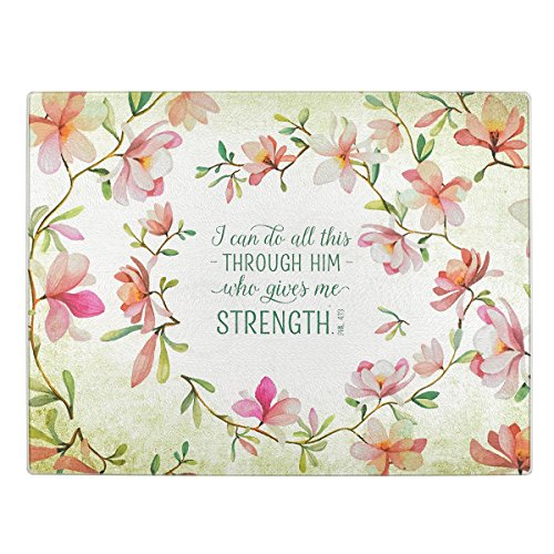 Christian Art Gifts Tempered Glass Cutting Board Tray/Trivet   All This Through Him – Philippians 4:13 Bible Verse   Floral Inspirational Home and Kitchen Décor