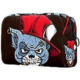 Bolsa de maquillaje pequeña con diseño de gato gánster con tapa roja