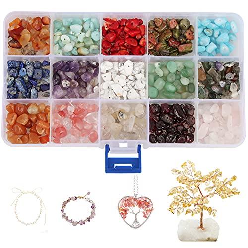 Xingsky cuentas de piedras naturales irregulares, cuentas de gemas, 15 colores para hacer joyas de bricolaje cuentas perforadas, collares, pulseras, cuentas de cristal