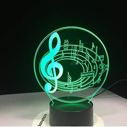 Veilleuse Romantique Note de Musique 7 Table de Changement de Couleur Lampe 3D Led Veilleuse De Nuit Fond De Lit Décor Nouveauté Lustre Cadeau De Vacances Pour Enfants