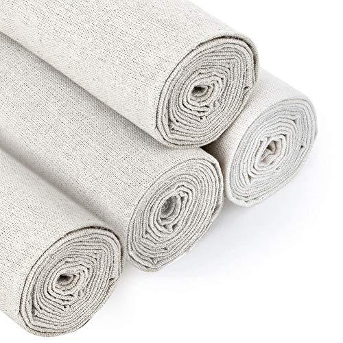 4 pezzi di tessuto di lino naturale per lavori di cucito, per realizzare indumenti, 50 cm, per tappezzeria, vasi di fiori e tovaglie, colore: bianco 4 pezzi.