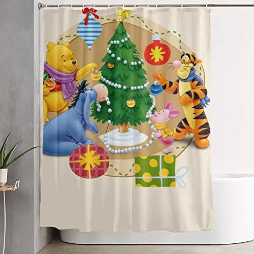 milkcolor Lustiger Stoff Duschvorhang Winnie The Pooh und Friends Weihnachten wasserdichtes Badezimmer Dekor mit Haken 60 x 72 Zoll
