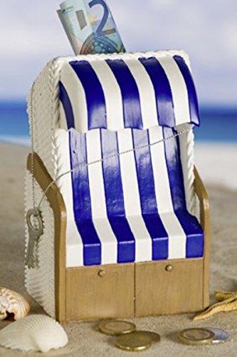 Casablanca Spardose Strandkorb blau/weiß,Poly