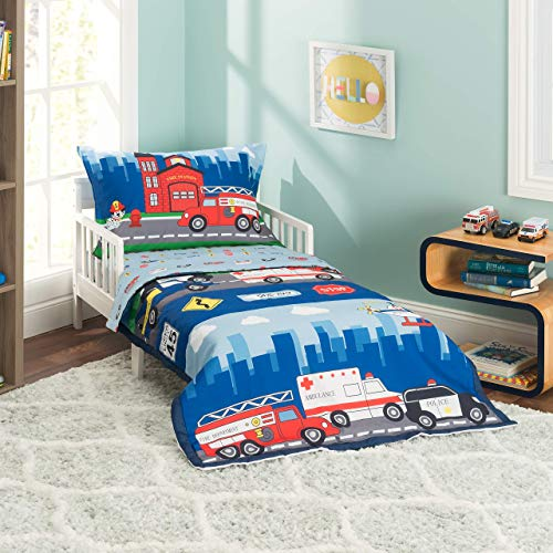 EVERYDAY KIDS 4 Piece Toddler Bedding Set -Fire and Police Rescue- Includes...