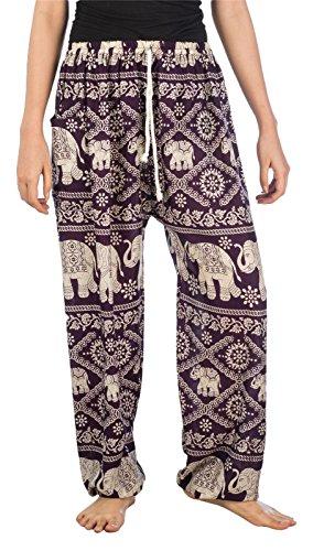 Lofbaz Mujeres Harén Pantalones de Cintura de cordón Ropa Boho Yoga