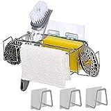 OBSGUMU 5-in-1 Acciaio inossidabile Portaspugna per lavello da cucina Portaspazzole per lavello insieme a 3Pack Porta spugna adesiva,A prova di ruggine e nessuna perforazione