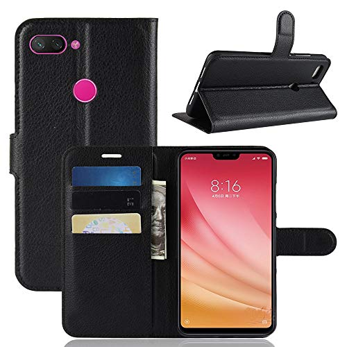 Capa Carteira Flip Wallet Case 360 Xiaomi Mi 8 Lite de Tela 6.26, Couro Sintético, Preto