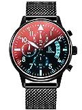 Alienwork Armbanduhr Herren Damen schwarz Metall Mesh Armband Edelstahl Kalender Datum