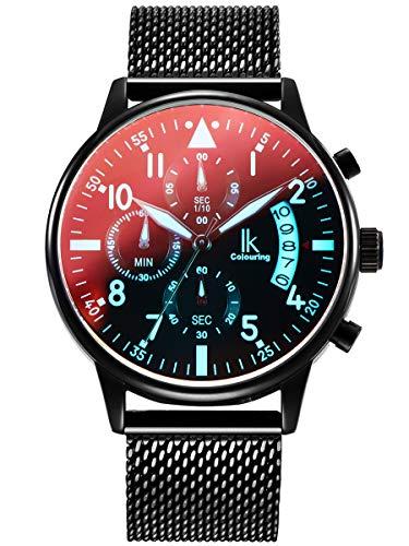 Alienwork Herren Damen Armbanduhr Quarz schwarz mit Metall Mesh Armband Edelstahl Kalender Datum