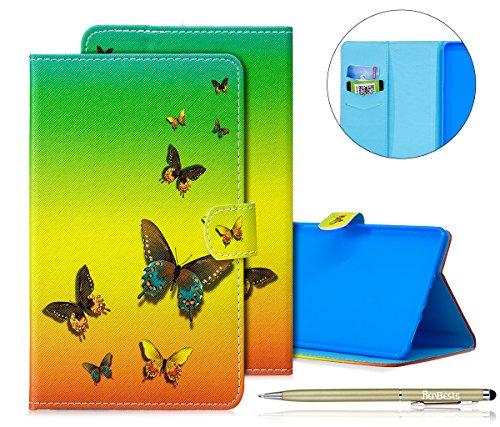 Herbests Hülle für Galaxy Tab S 8.4 Zoll SM-T700 SM-T705, Galaxy Tab S 8.4 Zoll Lederhülle Flip Hülle Leder Klapphülle Ledertasche im Bookstyle Bunt Muster Superdünn Cover Sc