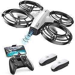 Potensic Mini Drohne mit Kamera für Kinder, FPV WiFi Live Übertragung, verbesserter Propellerschutz, 3D-Flip, Kampfmodus, Induktion der Schwerkraft, Höhenlage, kopfloser Modus, Spielzeuggeschenk, Weiß