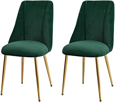 Modern and Simple Backrest Dining Chair, Fabric Upholstered Seat, with Metal Legs, Used in Kitchen, Room, Dining Room, Living