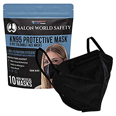 Salon World Safety Black KN95 Protective Masks, Pack of 10 - Filter Efficiency ?95%, 5-Layers, Protection Against PM2.5 Dust, Pollen, Haze-Proof - Sanitary 5-Ply Non-Woven Fabric, Safe, Easy Breathing by Salon World Safety