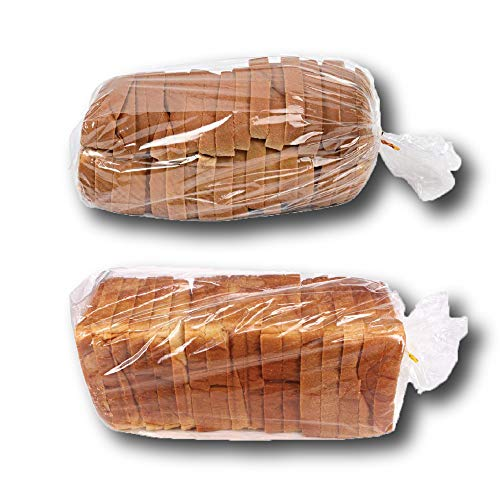 Bread Bags with Ties, Reusable, 100 Clear Bags and 100 Ties, Bread Bags for Homemade Bread and Bakery Loaf Adjustable Reusable