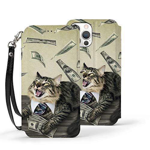 Ip12pro Max-6.7 Funda de cuero Flip Phone Wallet Cover a prueba de golpes Happy Cat Dinero protector con ranura para tarjeta titular Kickstand